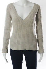 Ruehl No. 925 Beige Cashmere Cable Knit V-Neck Long Sleeve Sweater Size Medium