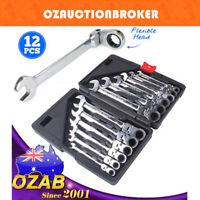12 Pcs Metric 8-19mm Flexible Head Spanner Gear Ratchet Wrench Cr-V Steel Set
