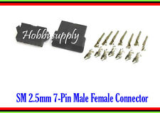 JST SM 2.5mm 7-Pin Male Female Housing Connector Adapter w/. Crimp Terminal x 5