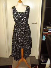 AX PARIS NAVY BLUE/CREAM POLKA DOT DROPPED HEM SLEEVELESS COTTON DRESS - Size 8