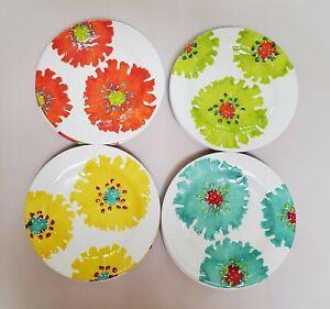 "Laurie Gates Melamine Salad Luncheon Plates Raised Floral Design 8.75"" Set of 8"
