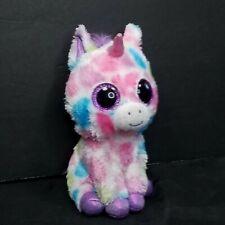 "Ty Beanie Boos Plush Wishful the Unicorn Colorful Spotted 6"" Purple Glitter eyes"