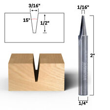 15 Flat Point V Groove Engraving Carbide Router Bit 14 Shank Yonico 14105q