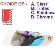 VISOR FOR FULL FACE MOTORCYCLE ROAD HELMET CHOICE CLEAR, TINTED, RAINBOW, CHROME