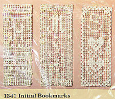 Creative Circle Personalized Initial Bookmarks 1341 Filet Lace Net Darning Kit