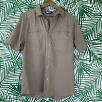 The North Face Men's Khaki Tan Button Down Utility Hiking Shirt Size Large