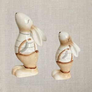 A Portland Ceramic Adorable Bunny In Dungarees Available In 2 Sizes 11cm Or 15cm