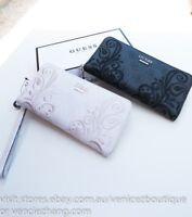 BNWT RRP$95 GUESS ARIANNA Embroidery Zip-around Wallet Clutch Purse Black Cement