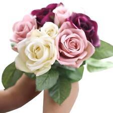 9 Heads Artificial Silk Fake Flowers Leaf Rose Wedding Floral Decor Bouquet