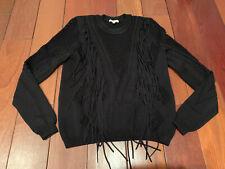 Ronny Kobo Black Knit Fringe Sweater S