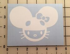 "Deadmau5 Hello Kitty 5"" Wide White Vinyl Decal Sticker - BOGO"
