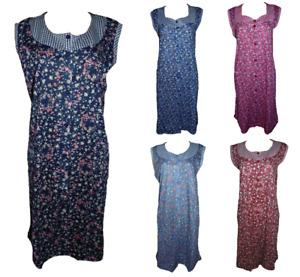 Damen Kittel Schürze Hauskleid ärmellos Rot Lila Hellblau Blau Navy