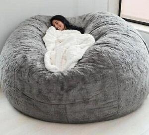 5ft Giant Fur Bean Bag Cover ORIGINAL Living Room Furniture Big Round Soft Flufy