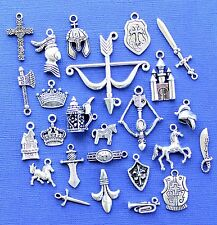 Medieval Deluxe Charm Collection 25 Silver Tone Charms FREE Shipping E41