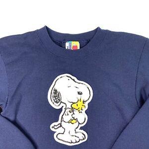 Tultex Peanuts Youth Snoopy Woodstock Fuzzy Hug Navy Blue Sweatshirt Size L