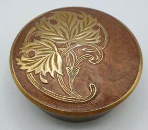 Vintage Cloisonné Brass Enameled Flower French Art Nouveau Round Trinket Box 9cm