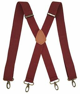 Men's Suspenders With 4 Swivel Hooks Vintage Adjustable One Size Red Wine
