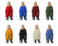 New Womens Italian Batwing Boxy Boat Tassel Poncho Ladies Knitted Cape Plus Size
