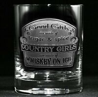 Country Girls Made of Whiskey on Ice Glass (m61wsky)