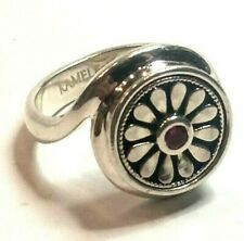 Kameleon Designer Sterling Silver Red Stone Interchangable Band Ring Sz 7 1/2