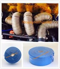 EXHAUST DOWN PIPE HEADER INSULATION WRAP 32FT BLUE FIBERGLASS CAR MOTORCYCLE