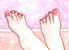 "FEET ART PAINTING - ORIGINAL 5x7"" - toes painted pink red toenails ankles legs"
