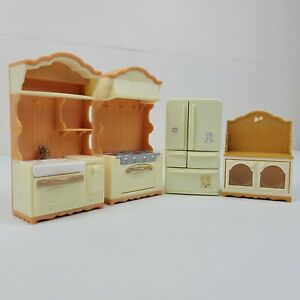 Vintage EPOCH Calico Critters Kitchen Set Sink Oven Refrigerator And Cabinet