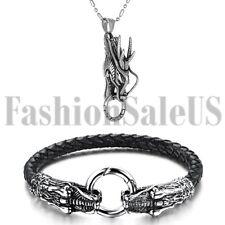 Men's Stainless Steel Silver Tone Vintage Dragon Head Pendant Necklace Bracelet