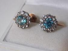 Vintage Art Deco 9ct Rose Gold Screw back Earrings Blue Zircon Spinel 12d 55
