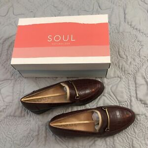 SOUL Naturalizer Women's Firstly Shoes Loafer Wine Alligator Print Size 6.5