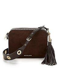 Michael Kors Brooklyn Suede Leather Camera Shoulder Bag (Coffee)