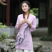 Chinese Traditional Tops Women Linen Shirt Summer Blouse Size M-3XL