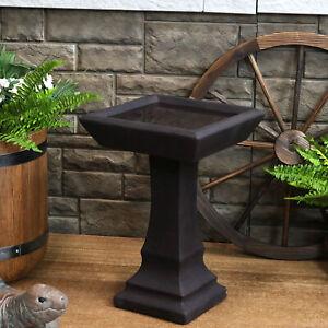 Sunnydaze Simply Square Modern Reinforced Concrete Bird Bath - 23-Inch - Brown