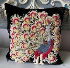 Antique   needlework embroidery  velvet peacock  decorative throw  pillow