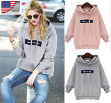 US Womens Fashion Hooded Hoodies Long Sleeve Casual Sweatshirts Pullover Tops
