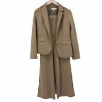 New York & Company Womens Beige 2 Pc Jacket Blazer Stretch Pant Suit Size 8