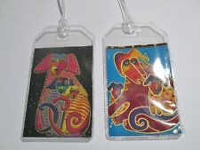 Laurel Burch dogs and doggies fabric Luggage Tags PAIR Travel Accessory gift