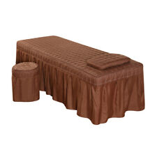 Soft Beauty Massage Bed Sheet With Pillowcase and Stool Cover Coffee