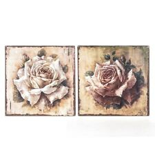 Shabby Metal Wall Plaque SET OF 2 Pink Cream Roses Vintage Style Chic