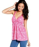 NWT Pink Rose Women's Pink Geometric Crochet Back Babydoll Top Sz  M