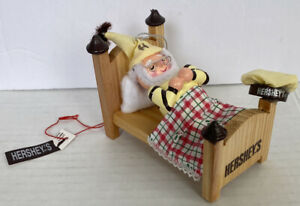 1997 Hershey's Chocolate Elf Sleeping On A Bed Collector Series Ornament NIB