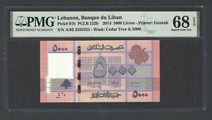 Lebanon 5000 Lira 1-4-2014 P91b Uncirculated Grade 68