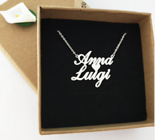 Custom Double Name Couple Lover Heart Necklace Personalized Men Women Gift Font