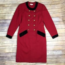 Vintage USA Brooks Brothers Women 8 Red Wool Velvet Double Breasted Sheath Dress