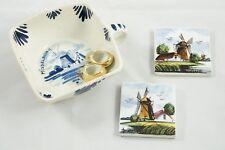Vtg 3 Delft Blue Holland Windmills Middelburg Dish Mini Tiles Coloured Delft