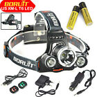 BORUiT 15000 Lumen Headlamp XM-L 3x T6 LED Headlight 18650 Light Charger Battery