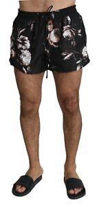 DOLCE & GABBANA Swimshorts Black Roses Logo Beachwear Boxer IT7 / XL