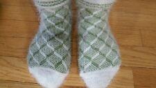 Handmade thick  warm winter Socks shoe size 6 7 7,5 green white