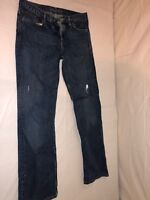 MENS BANANA REPUBLIC BOOT FIT JEANS DARK DENIM WASH FADED STAINED SIZE 32/34
