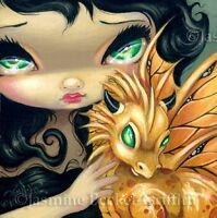 Fairy Face 95 Jasmine Becket-Griffith Art Fantasy Gold Dragon SIGNED 6x6 PRINT